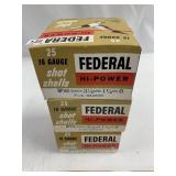 """Lot of 3: 25 round boxes of Federal 16 ga 2 3/4"""" #"""