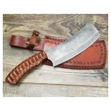 Damascus bladed clever with textured pakkawood han