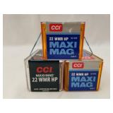 Lot of 3 50 round boxes of .22Mag, HP CCI Hollow P
