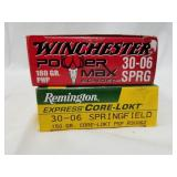 2 20 Round boxes of 30-06 Cartridges, 1 is Remingt