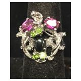 Sterling silver ring with garnets spinel, size 7.5