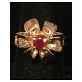 Sterling silver ring with rubies size 7