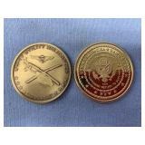 Lot of 2 medallions, 1 commemorates office of the