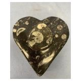 Heart shaped fossil box with orthoceras fossil lid