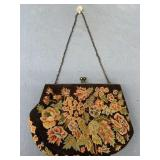 "Embroidered clutch with small chain, about 7"" acro"