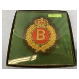 Embroidered British military crest with gold threa