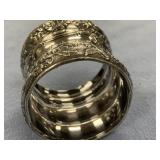 Silver plated napkin ring with floral design appro