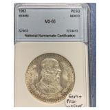 Silver 1962 Mexican peso graded MS66 by NNC