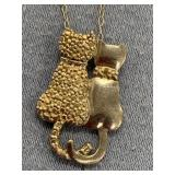 Sterling silver cat necklace on a silver chain