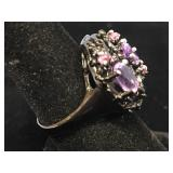 Sterling silver ring with amethyst and tourmaline