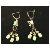 Sterling silver earrings with emeralds and peridot