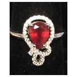 Sterling silver ring with ruby and cubic zirconia
