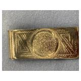 Silver alloy money clip with the Mayan calendar ma
