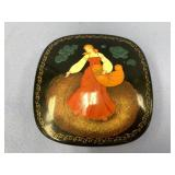 "Russian ceramic lacquer box about 4"" across"
