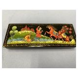 "Rectangular lidded Russian lacquer box about 6"" lo"