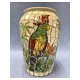 "Porcelain mosaic vase about 9"" tall"