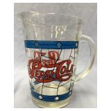 "Vintage glass Pepsi Cola pitcher about 8"" tall"
