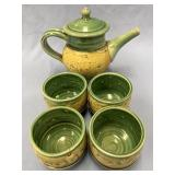 Set of 5 ceramic teapot and 4 cups hand painted