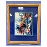Double matted and framed abstract watercolor of a