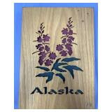 Unusual wood photo album with fireweed on front, a