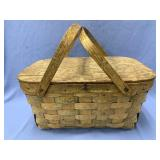 Vintage wood picnic basket with handle overall wid