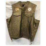 Medals of America Leather Vest (XL) with Patriotic