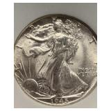 1945 S Silver walking Liberty half dollar MS66 by