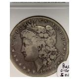 1885 S over S, Morgan silver dollar graded VG10 by