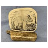 """4"""" Tall x 3.5"""" wide scrimmed mammoth ivory of a mo"""