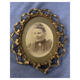 """Photo of a woman in ornate frame 6"""" tall  p2361"""