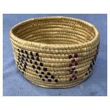 "Hooper Bay grass basket with seal skin, gut, 4.5"""