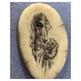 Scrimshawed ivory pin by Wilbur Walluk           (