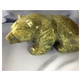 "Michael Scott soapstone carved bear, approx. 13"" l"