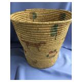 """Old grass basket, dyed accents, approx. 13"""" tall"""