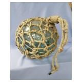 Vintage blue Japanese fishing net float, nylon net
