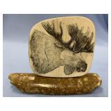 Michael Scott scrimshaw of a moose