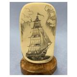Michael Scott scrimshaw of sailing vessel on masto
