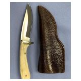 Michael Scott skinning knife with fossilized oosic