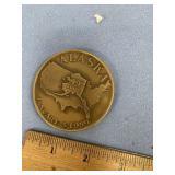 "Small bronze paperweight, Alaska Statehood 3.5"" ac"