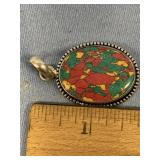 Sterling silver pendant with multi-colored stone c