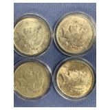 Lot of 4 Peace silver dollars  1922, 1922 D, 1926