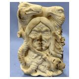 Outrageous relief carved mastodon ivory section wi