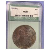 1885 Morgan silver dollar graded MS66 by NTC