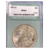 1883 O Morgan silver dollar graded MS64 by NTC