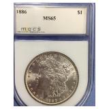 1886 Morgan silver dollar graded MS65 by MCCS