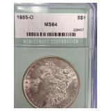 Morgan silver dollar 1885 O MS64 by NGC        (33