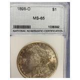 Morgan silver dollar 1898 O MS65 by NNC        (33