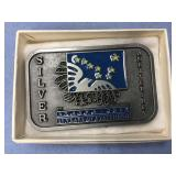 Pewter belt buckle, 25th Anniversary of Alaska Sta