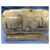 Michael Scott scrimshaw of a wooly mammoth on foss