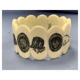 Ivory stretch bracelet with 12 scrimshawed designs